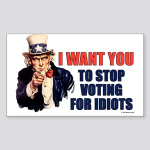 Stop Voting For Idiots Rectangle Sticker