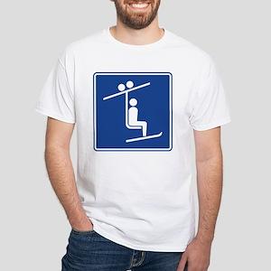Ski Lift Sign White T-Shirt