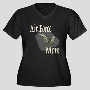 Jet Air Force Mom Women's Plus Size V-Neck Dark T-