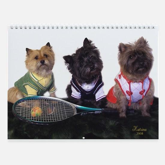 Cairn Terrier Tennis Wall Calendar