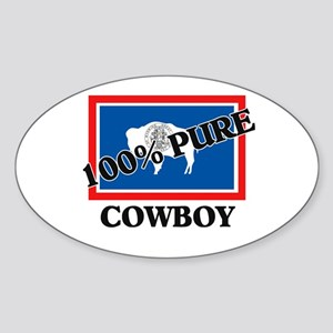 100 Percent Cowboy Oval Sticker