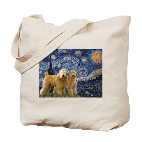 Starry Night & 2 Wheatens Tote Bag