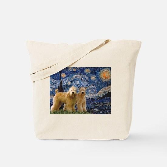 Starry Night & 2 Wheatens Tote Bag