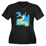 3am Eternal 80s Women's Plus Size V-Neck Dark T-Sh