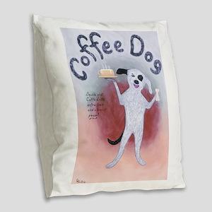 Coffee Dog Burlap Throw Pillow