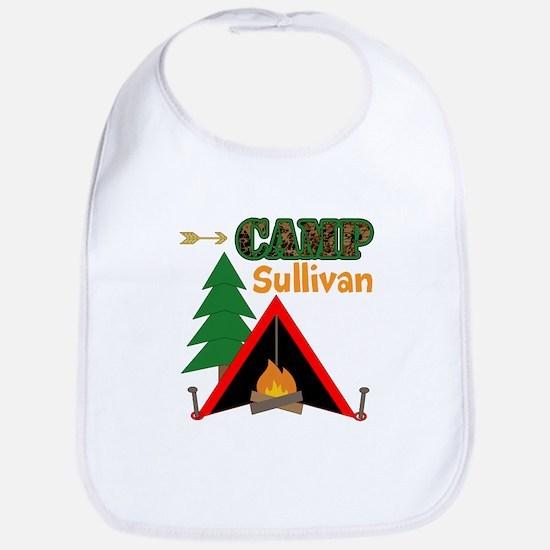Tent Campfire Camping Name Baby Bib