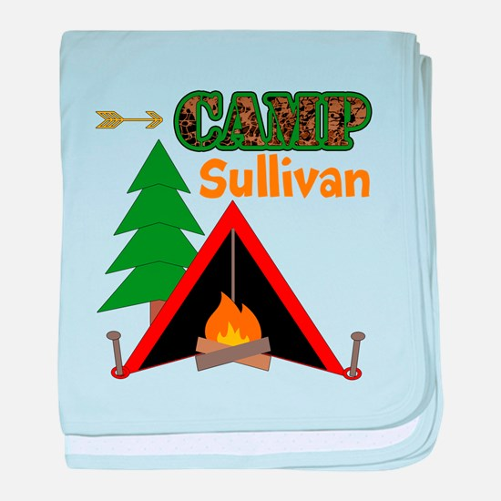 Tent Campfire Camping Name baby blanket