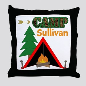 Tent Campfire Camping Name Throw Pillow