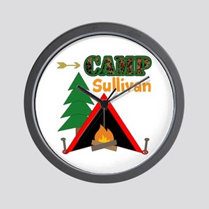Tent Campfire Camping Name Wall Clock