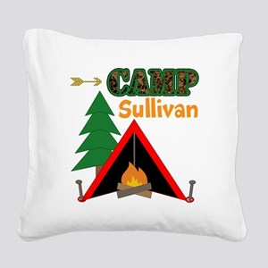 Tent Campfire Camping Name Square Canvas Pillow