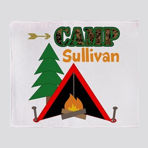 Tent Campfire Camping Name Throw Blanket
