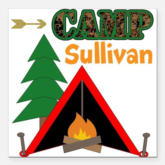 "Tent Campfire Camping Name Square Car Magnet 3"" x"