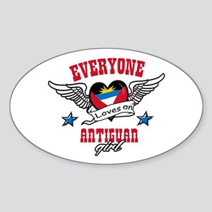 Everyone loves an Antiguan girl Oval Sticker