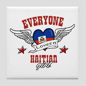 Everyone loves a Haitian girl Tile Coaster
