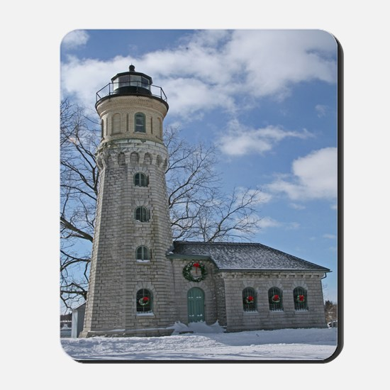Old Fort Niagara Lighthouse In Winter Mousepad