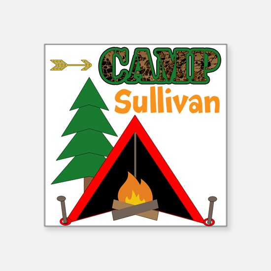 Tent Campfire Camping Name Sticker