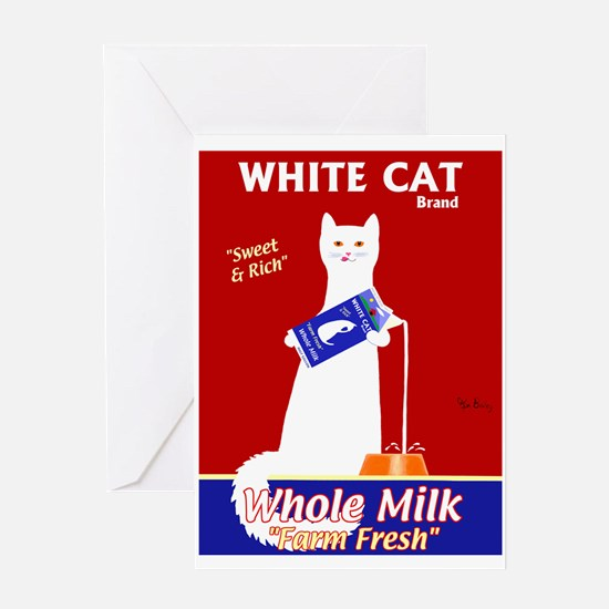 White Cat Milk Greeting Card