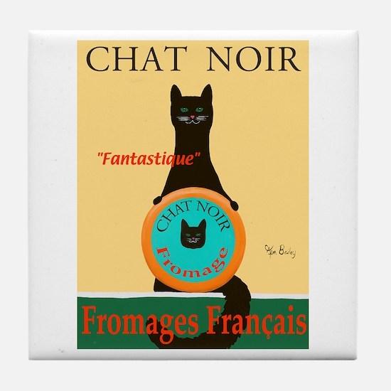 Chat Noir II (Black Cat) Tile Coaster