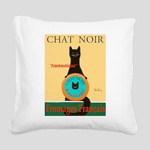 Chat Noir II (Black Cat) Square Canvas Pillow