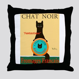 Chat Noir II (Black Cat) Throw Pillow