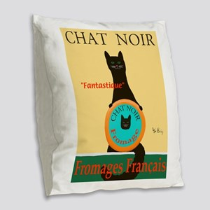 Chat Noir II (Black Cat) Burlap Throw Pillow