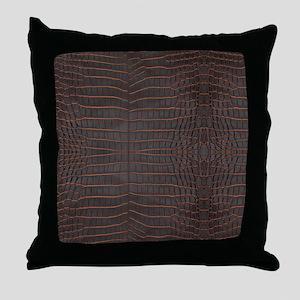 Chestnut Nile Crocodile Skin Throw Pillow