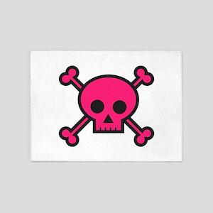 Skull and Crossbones Pink 5'x7'Area Rug