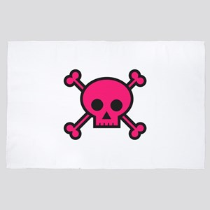 Skull and Crossbones Pink 4' x 6' Rug