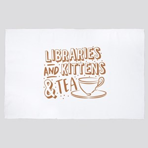 Libraries and kittens and TEA 4' x 6' Rug