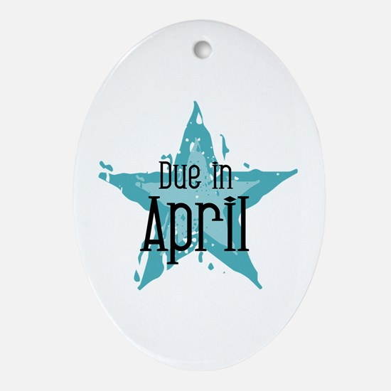 Blue Star Due In April Oval Ornament