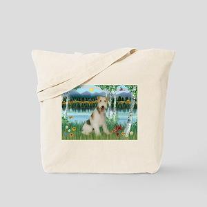 Wire Fox Terrier in Birches Tote Bag