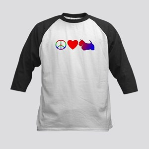 Peace Love Scottie Kids Baseball Jersey