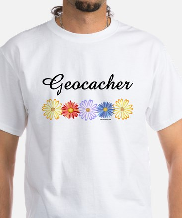Geocacher Asters White T-Shirt