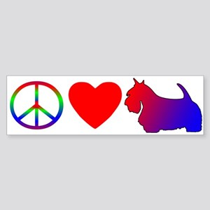 Peace Love Scottish Terrier Bumper Sticker