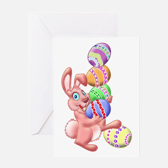 EASTER BUNNY JUGGLING EGGS Greeting Card