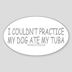 Dog Ate Tuba Oval Sticker