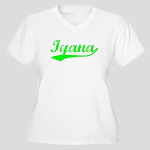 Vintage Iyana (Green) Women's Plus Size V-Neck T-S