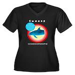 Dolphin Swoosh Women's Plus Size V-Neck Dark T-Shi