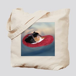Friendship:Rat terrier & cat cuddled. Tote Bag