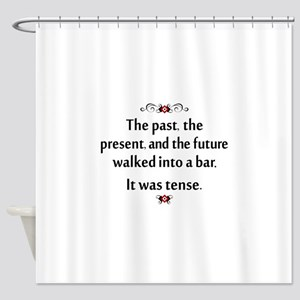 The past, present, and future Shower Curtain