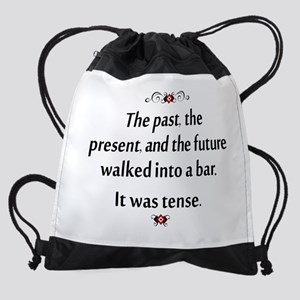 The past, present, and future Drawstring Bag