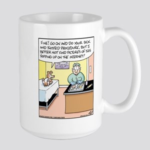 Dog Threatens Veterinarian Large Mug