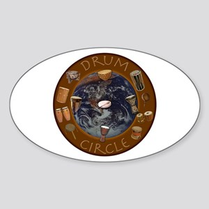 World Drum Circle Oval Sticker