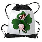 St. Patrick's Lucky Pin Up Girl Drawstring Bag