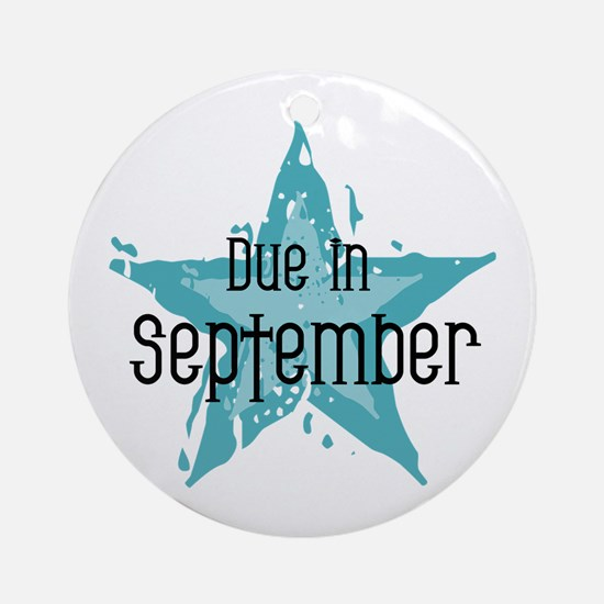 Blue Star Due In September Ornament (Round)