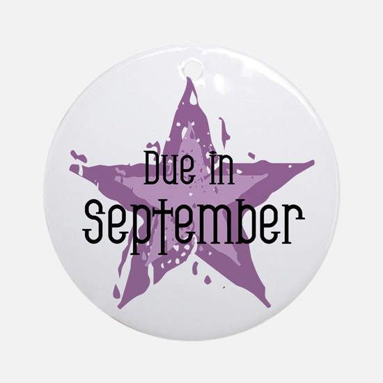 Purple Star Due In September Ornament (Round)