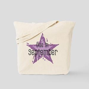 Purple Star Due In September Tote Bag