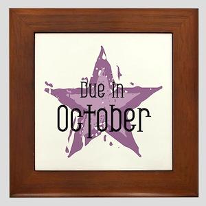 Purple Star Due In October Framed Tile