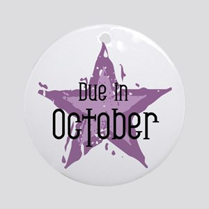 Purple Star Due In October Ornament (Round)