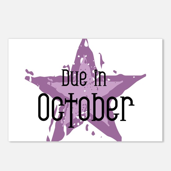 Purple Star Due In October Postcards (Package of 8